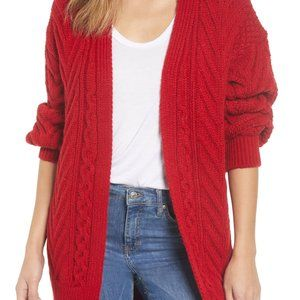 Top Shop vibrant red, oversized cardigan